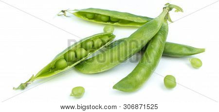 Sugar Snap Peas Isolated White Background. Vegetable Protein.