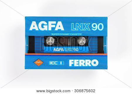 Bremen, Germany - May 29, 2019: Sealed Audio Compact Cassette Agfa Ferro Lnx 90 Blue. Rare Viantage