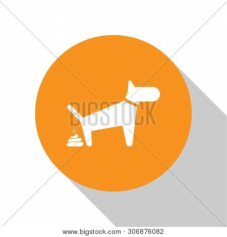 White Dog Pooping Icon Isolated On White Background. Dog Goes To The Toilet. Dog Defecates. The Conc