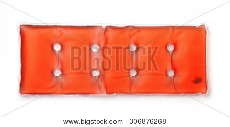 Top view of red self heating acetate pad isolated on white