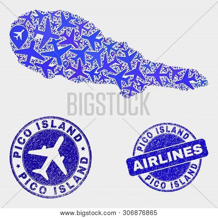 Airlines Vector Pico Island Map Collage And Grunge Seals. Abstract Pico Island Map Is Organized With