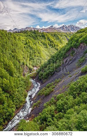A Scenic View Of Hurricane Gulch Between Anchorage And Denali National Park In Alaska.