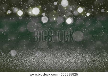 Wonderful Sparkling Abstract Background Glitter Lights With Falling Snow Flakes Fly Defocused Bokeh