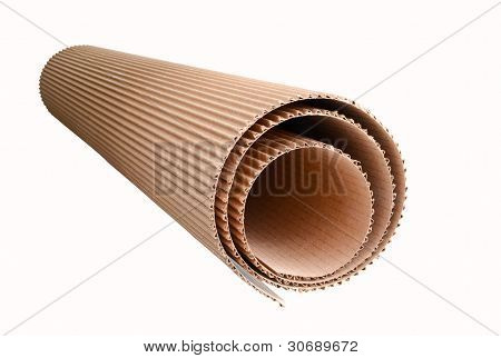 corrugated cardboard rolled up