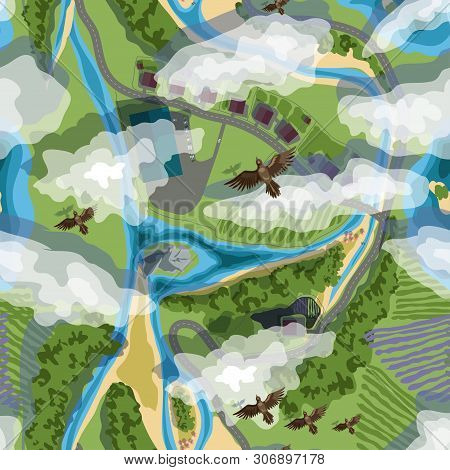 Vector Illustration Seamless Background From Trees, Village, Fields, Beach And Birds In Brown Colors