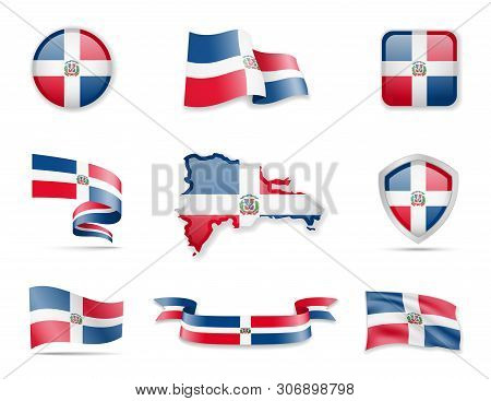 Dominican Republic Flags Collection. Vector Illustration Set Flags And Outline Of The Country.