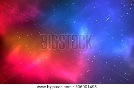 Realistic Color Space With Nebula And Shining Stars. Bright Cosmos With Galaxy And Milky Way. Infini