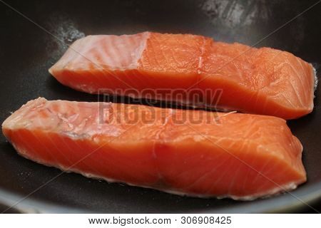 Ready Raw Fresh Salmon For Cooking In Pan.