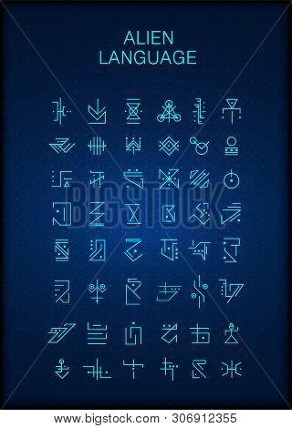 Alien Hieroglyphs, Symbols, Unknown Alphabit. Futuristic Hieroglyphs. Digital Alien Matrix Technolog