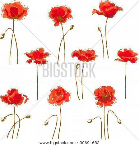 Set of 9 poppy flower
