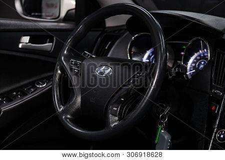 Novosibirsk, Russia - June 14, 2019:  Hyundai Sonata, Close-up Of The Dashboard, Speedometer, Tachom