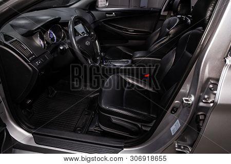 Novosibirsk, Russia - June 14, 2019:  Hyundai Sonata, Close-up Of The Dashboard, Adjustment Of The B