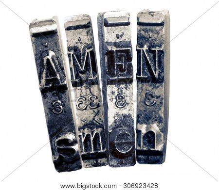 The word AMEN  withold typwriter  isolated on white
