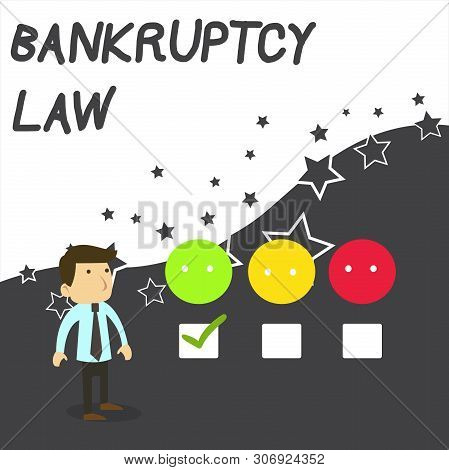 Text sign showing Bankruptcy Law. Conceptual photo Designed to help creditor in getting the asset of the debtor White Male Questionnaire Survey Choice Checklist Satisfaction Green Tick. poster