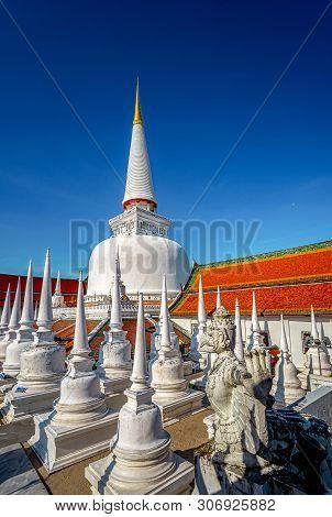 Great Ancient Pagoda In Nakhon Si Thammarat ,southern Of Thailand