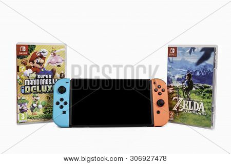 Riga, Latvia -  June 17, 2019: Nintendo Switch, The Video Game Console For Home Or Portable Gaming.