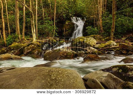 Mouse Creek Falls In Great Smoky Mountains National Park In North Carolina, United States