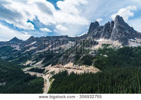 Washington Pass Overlook In Okanogan National Forest In Washington, United States