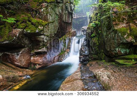 Sabbaday Falls In White Mountain National Forest In New Hampshire, United States