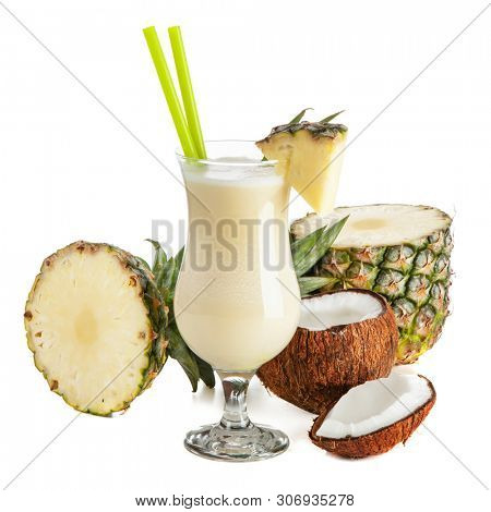 Pina Colada Cocktail isolated on white background