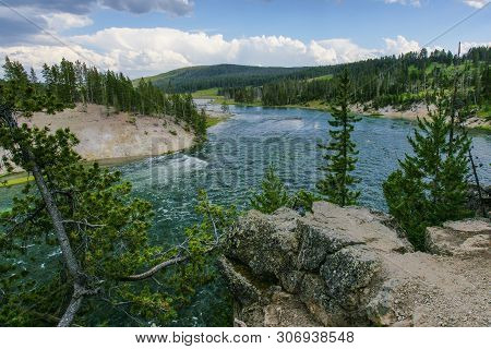 Yellowstone River At Sulphur Cauldron In Yellowstone National Park In Wyoming, United States