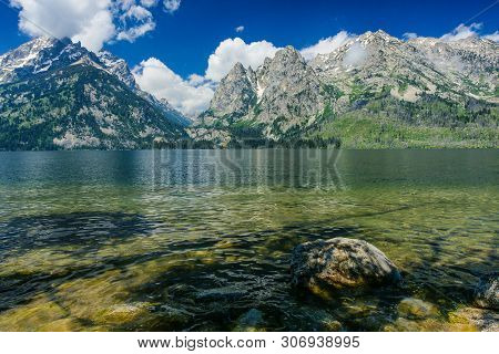 Jenny Lake Overlook In Grand Teton National Park In Wyoming, United States