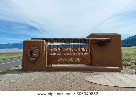Entrance Sign In Great Sand Dunes National Park In Colorado, United States