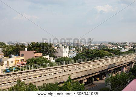 Bangalore, Karnataka India-june 01 2019 : Aerial View Empty Bengaluru Metro Bridge Near Vijaya Nagar