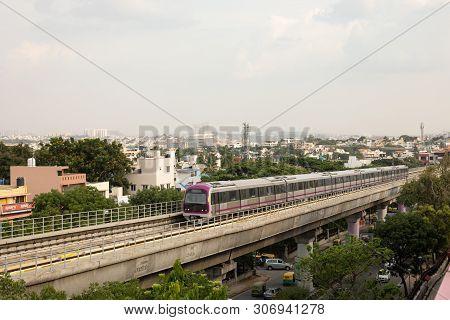 Bangalore, Karnataka India-june 01 2019 : Aerial View Bengaluru Metro Moving On The Bridge Near Vija