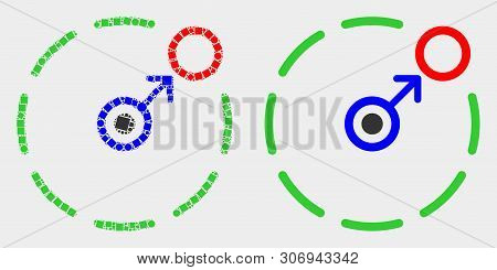 Pixel And Flat Move To Circle Perimeter Icons. Vector Mosaic Of Move To Circle Perimeter Designed Of