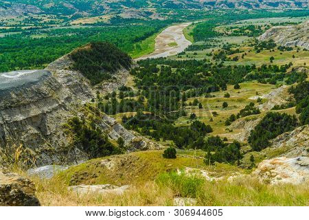 River Bend Overlook In Theodore Roosevelt National Park In North Dakota, United States