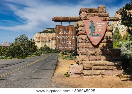 East Entrance Sign In Zion National Park In Utah, United States