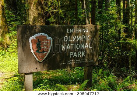 Quinault Entrance Sign In Olympic National Park In Washington, United States