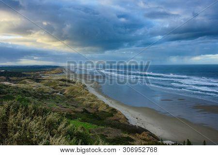 Coastal Dunes Near The City Of Florence In Oregon, United States