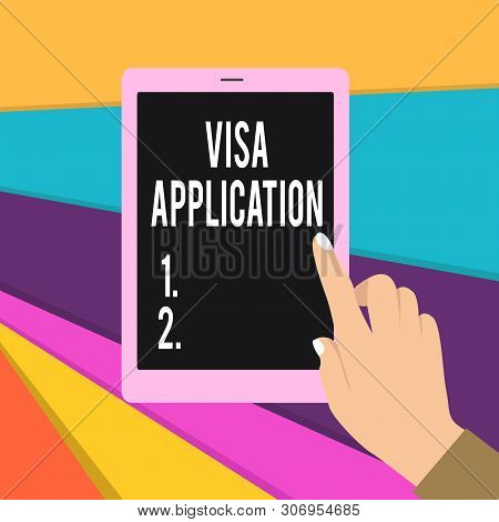 Word writing text Visa Application. Business concept for Form to ask permission travel or live in another country Female Hand with White Polished Nails Pointing Finger Tablet Screen Off. poster