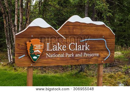 Entrance Sign In Lake Clark National Park In Alaska, United States