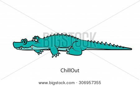 Cartoon Character Of A African South Animal. A Ridiculous Cool Happy Crocodile Is Lying And Just Res