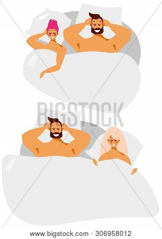 Man And Woman Couple In Bed. Relationships, Love, Sex And Adultery In The Family. Vector Cartoon Cha