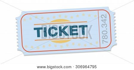 Raffle Ticket. Single Strip Ticket For Tombola, Lottery, Admission, Cinema, Theater, Festival And Ot