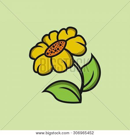 Graphical Sunflower Vector Illustration. Black Flower, Contour Flower, Bloom Flower, Decorative Flow