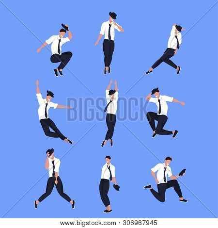 Set Businessman Dancer In Different Poses Male Cartoon Character Dancing Collection Blue Background