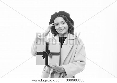 Birthday Wish List. Girl Happy Kid Hold Birthday Gift Box. Birthday Shopping. Birthday Girl Carry Pr