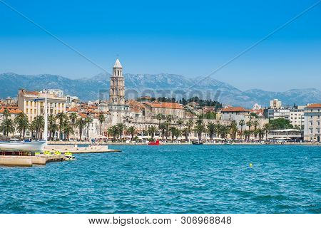 Waterfront City Skyline Of Split, Croatia, Adriatic Coast, Seascape
