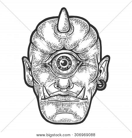 Cyclop Ancient Greek Myth Creature Sketch Engraving Vector Illustration. Scratch Board Style Imitati
