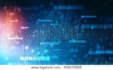 Binary Code Background, Digital Abstract Technology Background, Bytes Of Binary Code Run Through Net