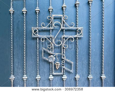 Stock Photo Orthodox Cross Forged In Fence Of Church Christian Religion Pattern Beautiful In Backgro