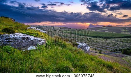 View From Up On Great Wanney Crag, On The Edge Of Northumberland National Park Is A Remote Escarpmen