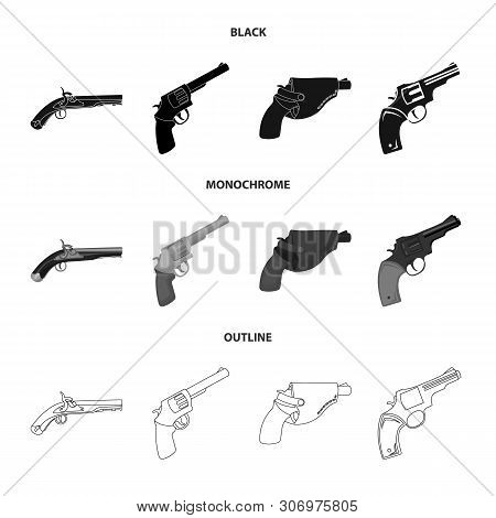 Vector design of revolver and pistol logo. Set of revolver and trigger vector icon for stock. poster