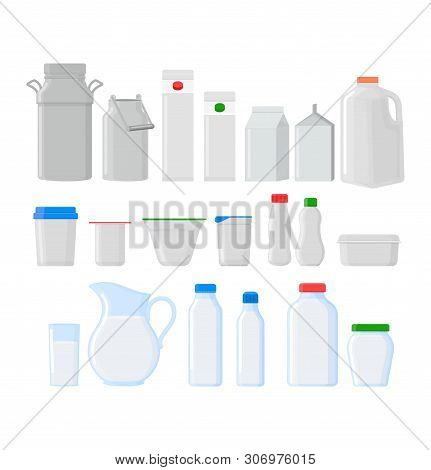 Milk Pack Vector Empty Glass Jar Glassware Blank Dairy Products Cheese Package Illustration Glassful