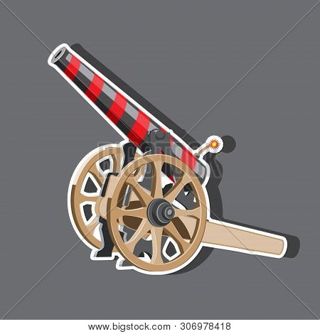 Cartoon Illustration Of Cannon With Cannonballs, Weapon Icon, Eps 10 Vector Image